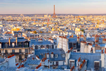 Paris. Scenic aerial view of the city in the early morning.
