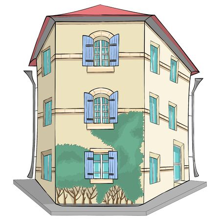 Vector. Traditional yellow stone house in Provence. Banque d'images - 126211664