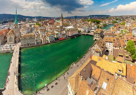 Zurich. Panoramic aerial view of the city on a sunny day.