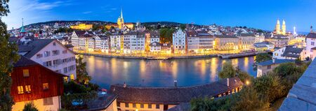 Zurich. Panoramic aerial view of the city at sunset. Stock Photo