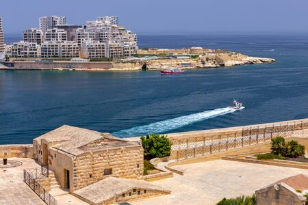 Aerial view from the fortress wall on the historical part of the old city. Malta. Valletta.