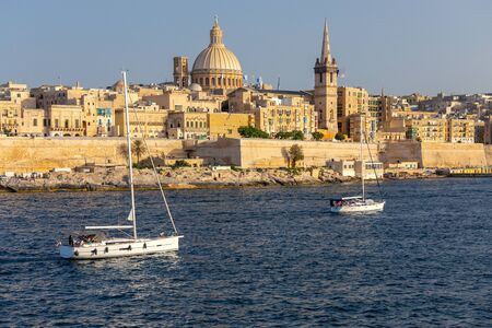 Valletta. The building of the Cathedral of St. Paul on a sunny day. Stock Photo
