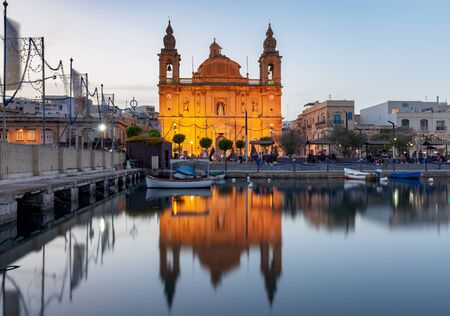 Msida. Malta. The famous parish church in the night light. Stock Photo