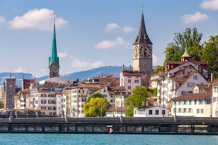 Zurich. View of the city embankment and the facades of old houses.
