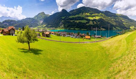 Lungern. Panorama. Old medieval village in the swiss alps.