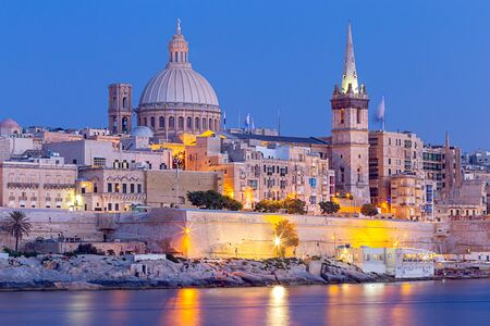 Valletta. The building of the Cathedral of St. Paul at sunset.