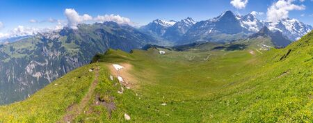 Panoramic view of the Swiss Alps near the city of Lauterbrunnen. Switzerland.