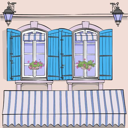 Vector. Windows with shutters and flowers in pots. Banque d'images - 132018391
