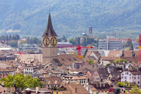 Aerial view of city rooftops and towers. Zurich. Switzerland. Banco de Imagens