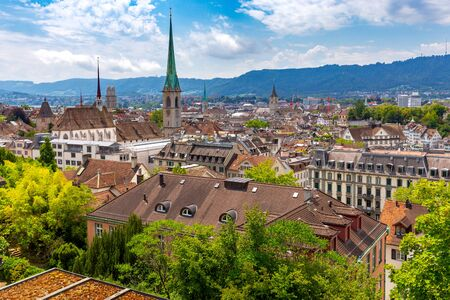 Aerial view of city rooftops and towers. Zurich. Switzerland.