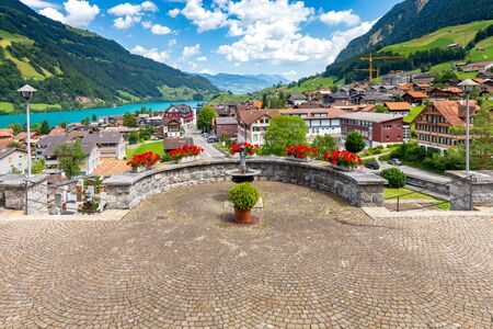 Lungern. Old medieval village in the swiss alps. Banco de Imagens