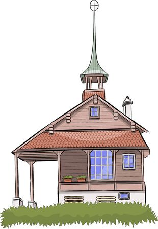 Vector. Old catholic chapel with a bell tower.