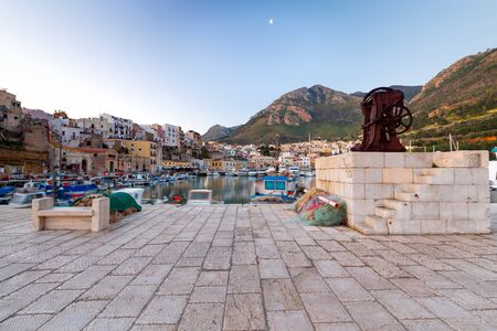 View of the harbor of Castellammare del Golfo on a sunny day. Italy. Sicily.