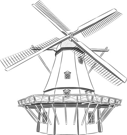 Vector black and white illustration of a windmill.
