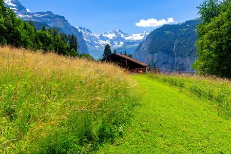 View of the Swiss Alps near the city of Lauterbrunnen. Switzerland.