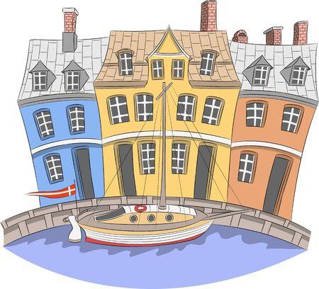 Vector. Canal Nyhavn in Copenhagen.  イラスト・ベクター素材