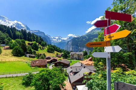 View of the Swiss Alps near the city Wengen. Switzerland. Фото со стока