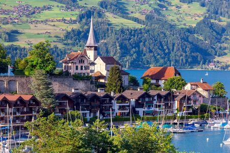 The traditional alpine village Spiez near Lake Thun. Banco de Imagens
