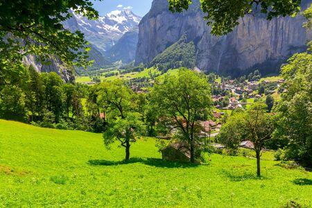 Scenic view of Swiss alpine meadows on a sunny day. Switzerland. Lauterbrunen.