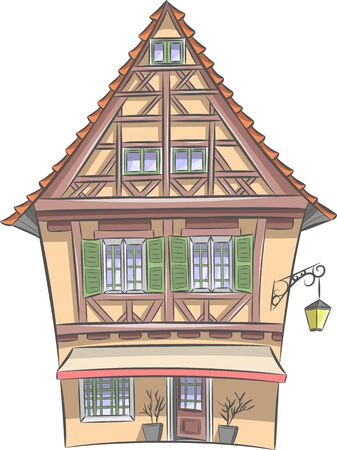 Vector. Old half-timbered house in Colmar.