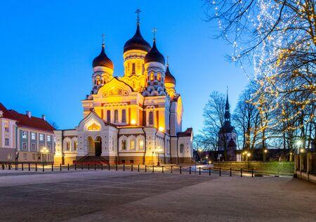 Tallinn. Alexander Nevsky Cathedral at sunset.