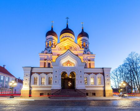Facade and domes of the Alexander Nevsky Cathedral at sunset. Tallinn. Estonia.