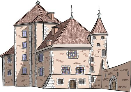 Color sketch of the old castle in Annecy. Ilustrace