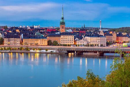 Aerial view of the island Gamla Stan at sunset. Stockholm. Sweden. Banco de Imagens