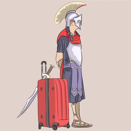 Vector illustration of a Roman legionnaire in armor with a sword and a modern red suitcase.