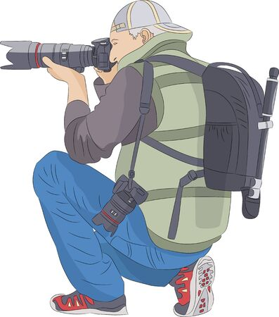 Photographer man in a cap with a camera tripod and a photo backpack on his back.