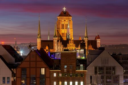 Towers of the church of Virgin Mary at sunset. Gdansk. Poland.