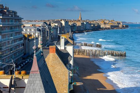 Saint-Malo. City embankment on a sunny day.