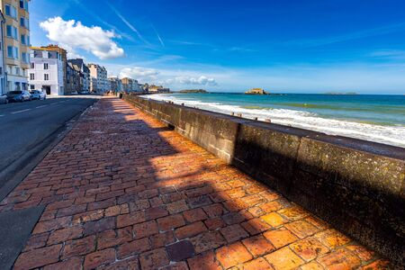 Scenic view on a sunny day on the city promenade of Saint-Malo. Brittany. France.