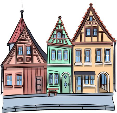 Facades of old houses in Rotheberg ob der Tauber. Ilustracja