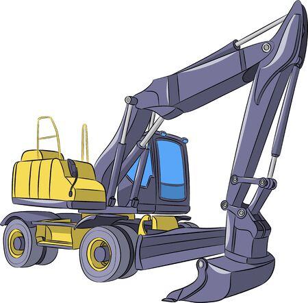 Yellow excavator on a wheeled platform. 일러스트
