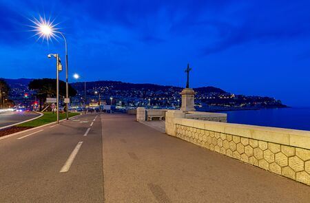City embankment in the old port in night illumination. Nice. France. Cote d'Azur.