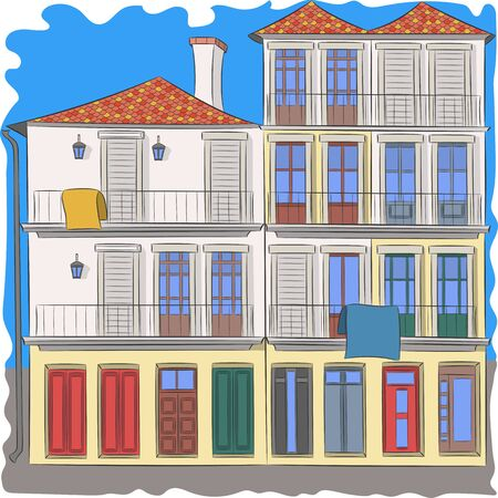 Colorful traditional house in Porto.