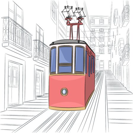 Lisbon. Old red cable car.