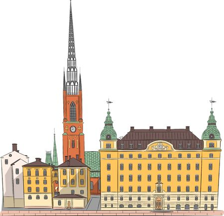 Old yellow houses and Riddarholmen Church on the island of Gamla Stan. Stockholm. Sweden.