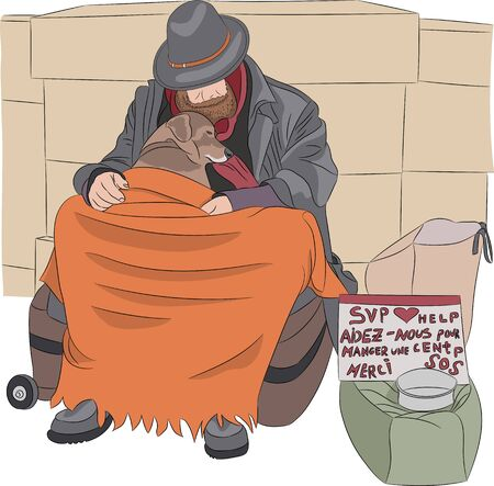 Homeless man in a hat with a dog sleeping on the street. Illustration