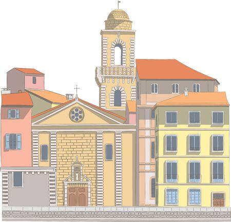 Arles. Provence. Old city embankment. Ilustrace