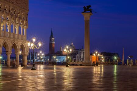 View of St. Mark's Square in night illumination at dawn. Venice. Italy. Reklamní fotografie