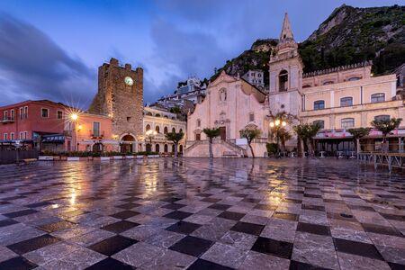 Taormina. The old stone church at dawn.