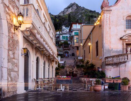 Main street in the town Taormina Corso Umberto. Sicily. Italy.