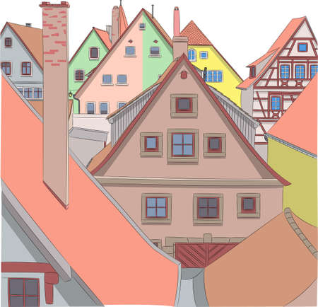 View of the facades and roofs of houses in Rothenburg ob der Tauber.