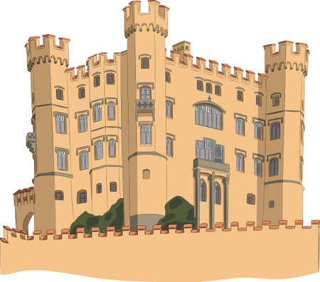 Medieval european castle with towers and fortress wall isolated on white background.