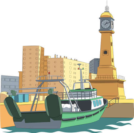 Fishing boat at the pier and a clock in the form of a lighthouse. Barcelona Spain.
