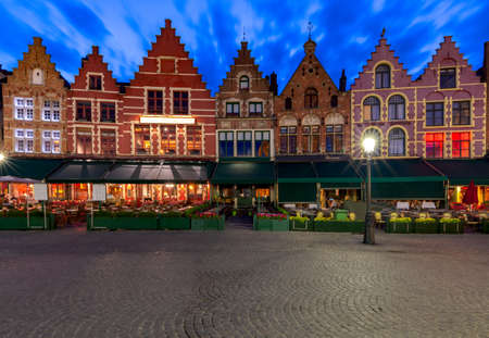Bruges. Market square at sunset. Stok Fotoğraf