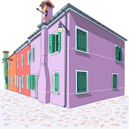 Colorful houses on the Burano island.