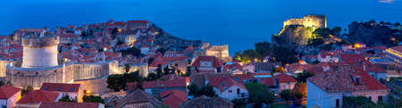 Panoramic aerial view of Dubrovnik at sunset.